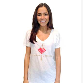white v-neck logo shirt