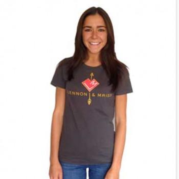 charcoal crew-neck logo shirt